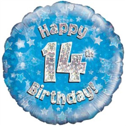 """18"""" Blue Holographic 14th Birthday Foil Balloon"""