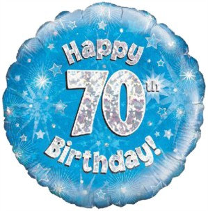 "18"" Blue Holographic 70th Birthday Foil Balloon"