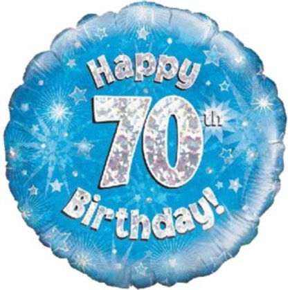 """18"""" Blue Holographic 70th Birthday Foil Balloon (Deflated)"""