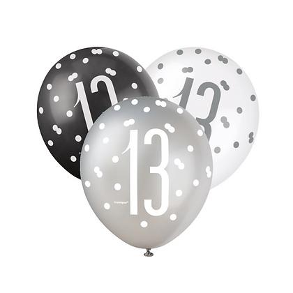 Black, Silver & White Glitz 13th Birthday Latex Balloons 6pk