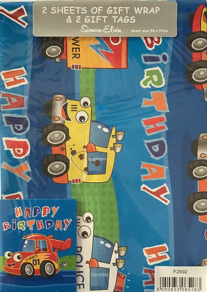 Vehicles Gift Wrap Pack