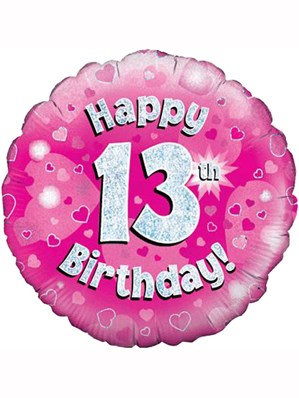 """18"""" Pink Holographic 13th Birthday Foil Balloon"""