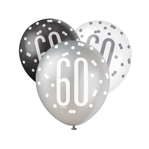 Black, Silver & White Glitz 60th Birthday Latex Balloons 6pk