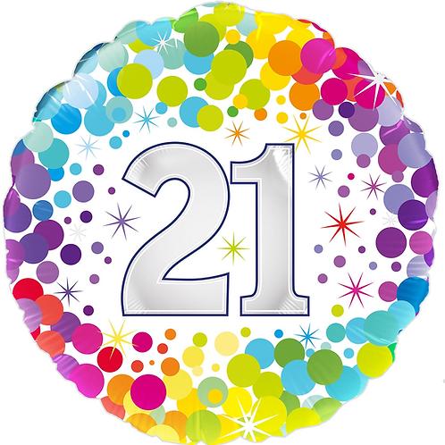 21st Rainbow Dots Foil Balloon