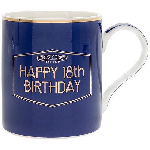 Gents Society Happy 18th Birthday Mug