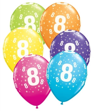 "Age 8 Latex 11"" Balloons 6pk"