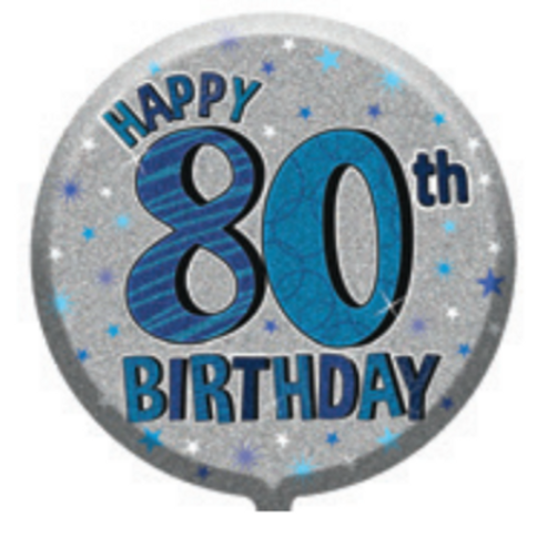 "80th Birthday Male 18"" Foil Balloon (Deflated)"