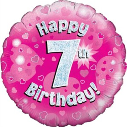 """18"""" Pink Holographic 7th Birthday Foil Balloon (Deflated)"""