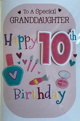 Granddaughter's 10th Birthday Card