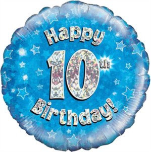 """18"""" Blue Holographic 10th Birthday Foil Balloon (Deflated)"""