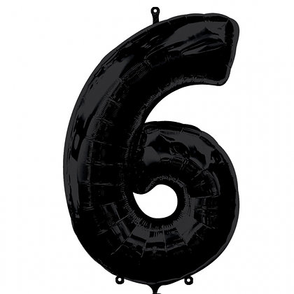 """Black Number 6 Foil Balloon 34"""" (Deflated)"""