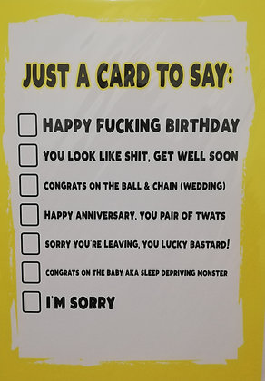 Just A Card To Say: Filthy Sentiment Card