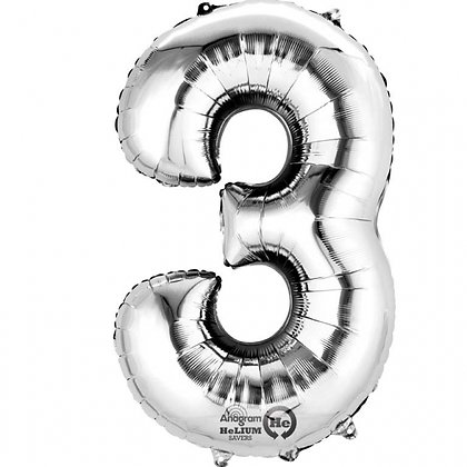 """Silver Number 3 Foil Balloon 34"""" (Deflated)"""