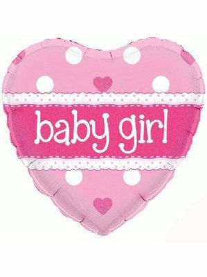 "Heart Baby Girl 18"" Foil Balloon (Deflated)"