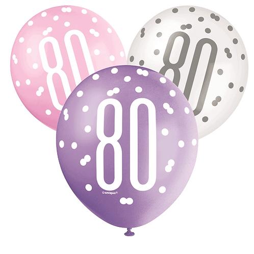 Pink, Purple & White Glitz 80th Birthday Latex Balloons 6pk
