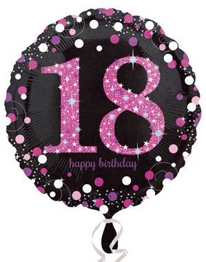 "18th Birthday Black and Pink Celebration 18"" Foil Balloon (Deflated)"