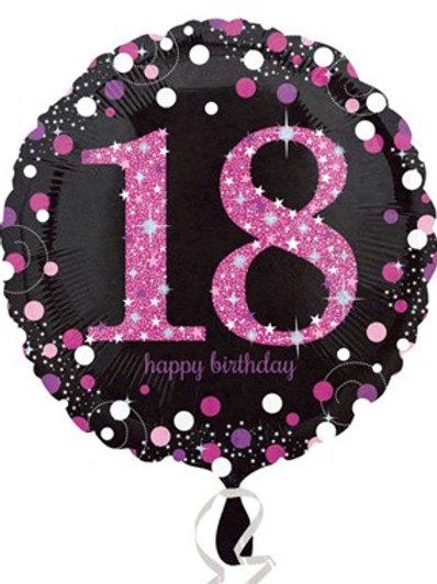 18th Birthday Black and Pink Celebration Balloon