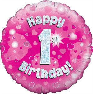 """18"""" Pink Holographic 1st Birthday Foil Balloon"""
