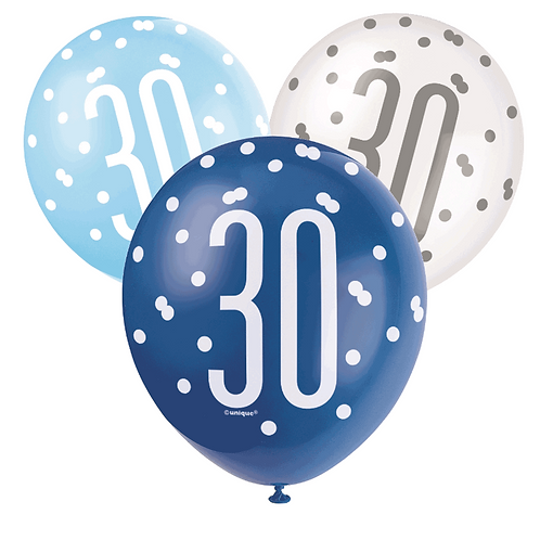 Blue & White Glitz 30th Birthday Latex Balloons 6pk