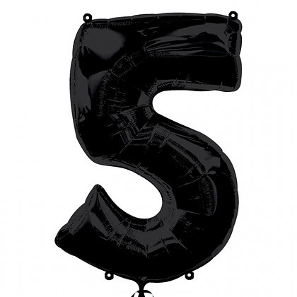 "Black Number 5 Foil Balloon 34"" (Deflated)"