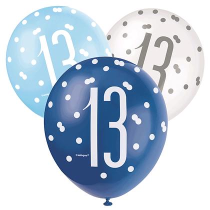 Blue & White Glitz 13th Birthday Latex Balloons 6pk