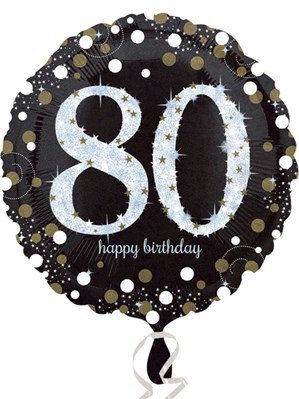 "80th Birthday Black and Gold Celebration 18"" Foil Balloon"