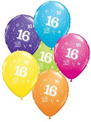 "Age 16 Latex 11"" Balloons 6pk"