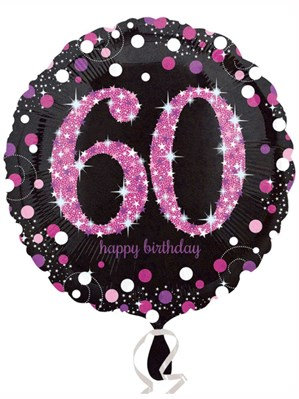 "60th Birthday Black and Pink Celebration 18"" Foil Balloon"