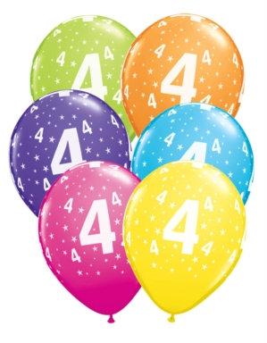 "Age 4 Latex 11"" Balloons 6pk"