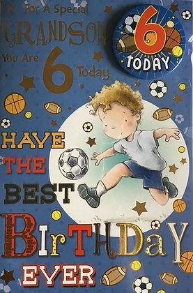 Grandson's 6th Birthday Card