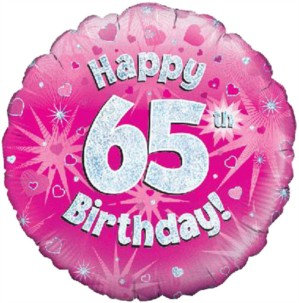 "18"" Pink Holographic 65th Birthday Foil Balloon (Deflated)"