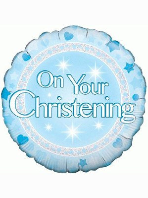 "Blue Holographic On Your Christening 18"" Foil Balloon (Deflated)"