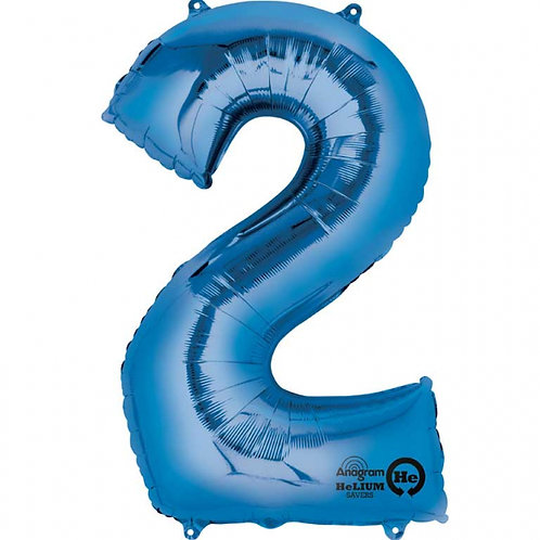 """Blue Number 2 Foil Balloon 34"""" (Deflated)"""