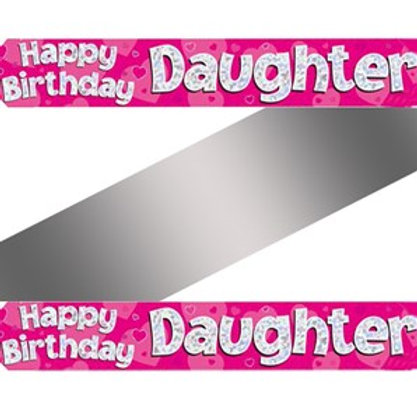 Daughter Birthday Pink Holographic Banner