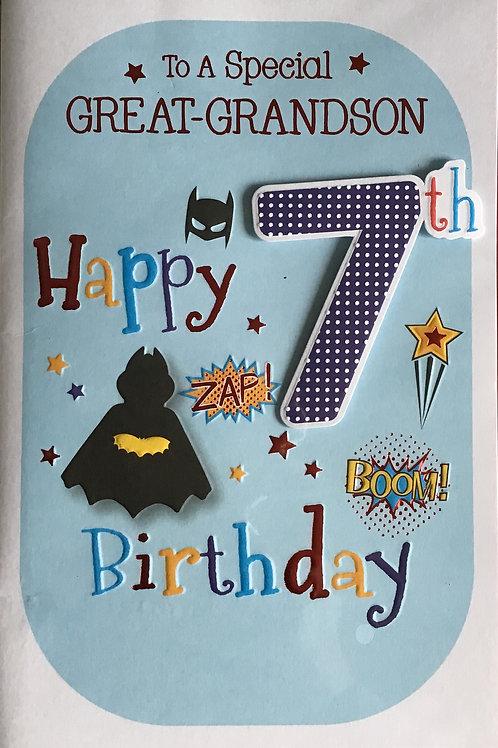 Great Grandson's 7th Birthday Card