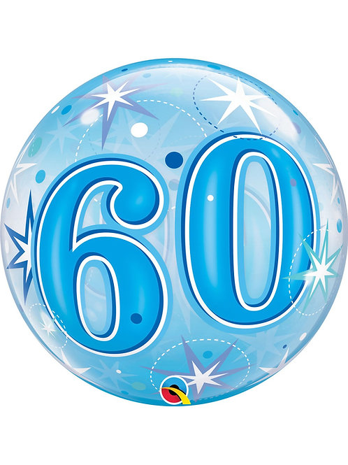 "60th Birthday Sparkle Bubble Balloon 22"" (Deflated)"