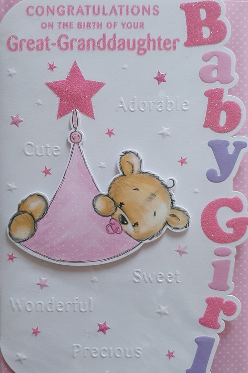 Birth of Your Great Granddaughter Card