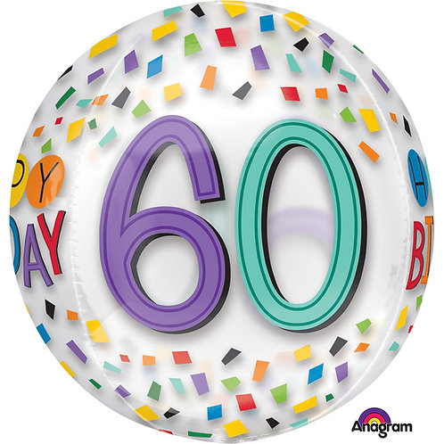 """60th Birthday Rainbow Clear Orbz 16"""" Foil Balloon"""