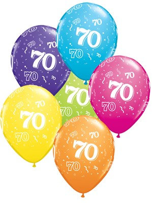 "Age 70 Latex 11"" Balloons 6pk"