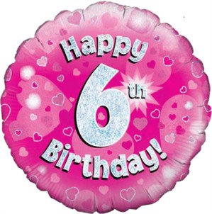 """18"""" Pink Holographic 6th Birthday Foil Balloon"""