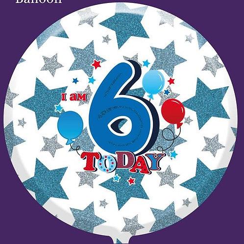 "6th Birthday Male 18"" Foil Balloon (Deflated)"