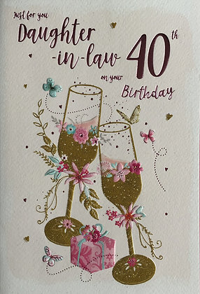 Daughter In Law's 40th Birthday Card