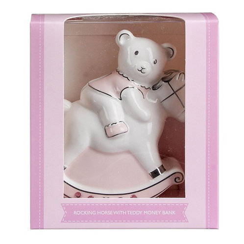 Pink Rocking Horse with Teddy Ceramic Money Bank