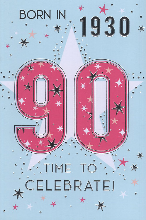 Year You Were Born 90th Birthday Card