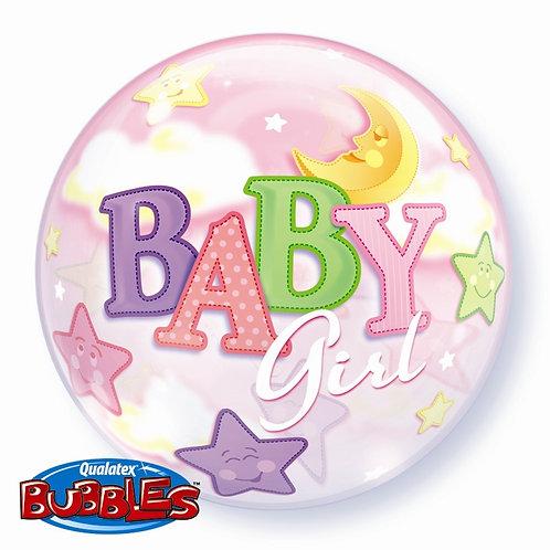 "Baby Girl Moon & Stars Bubble Balloon 22"" (Deflated)"
