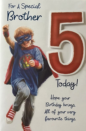 Brother's 5th Birthday Card