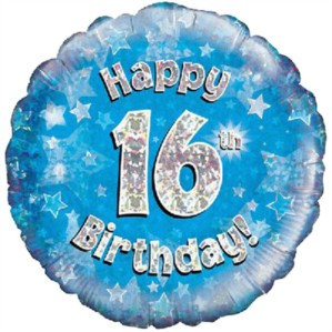 """18"""" Blue Holographic 16th Birthday Foil Balloon"""