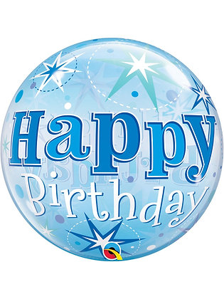 "Blue Happy Birthday Sparkle Bubble Balloon 22"" (Deflated)"