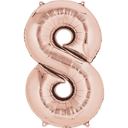 "Rose Gold Number 8 Foil Balloon 34"" (Deflated)"