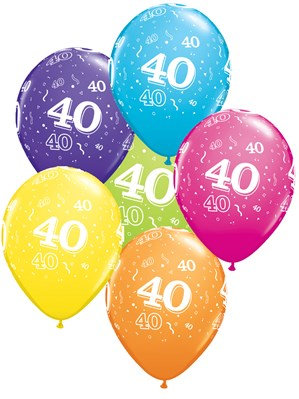 "Age 40 Latex 11"" Balloons 6pk"